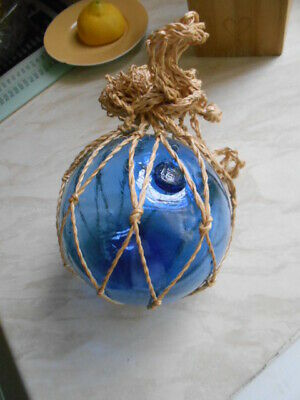 blue glass float buoy with net