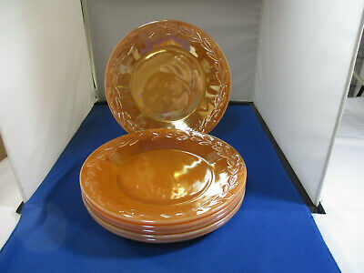 """Lot Of 6 Vintage Fire King Oven Ware Peach Lustre Plates 9"""""""
