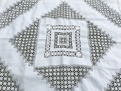 Stunning Antique White Bed or Table Cover Hand Made Woven Lace Inserts 254 x 268
