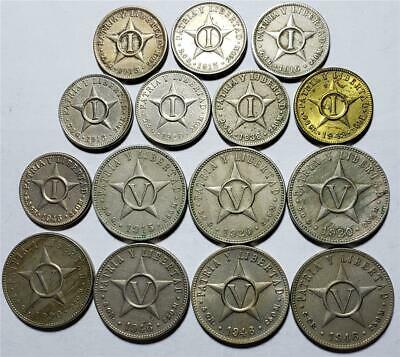 Mixed Lot 1 & 5 Centavos, 1915-1946, 15 Pieces, Mostly Copper-Nickel