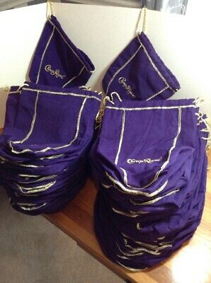 "69 Crown Royal Bottle Bags Large 9x13"" Purple Gold Trim Drawstring Nice 1.75L"
