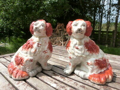 Lovely Pair Of Antique Vintage Staffordshire Hand Painted Ceramic Dog Figurines.