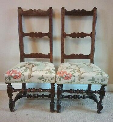 Pair Of Flemish Walnut Side Chairs G P & J Baker Paradise Bird Upholstery c.1750