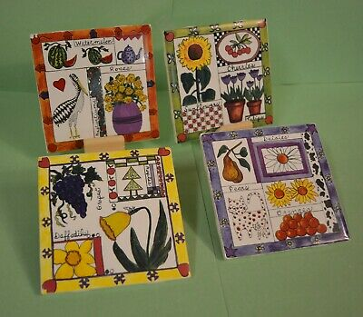 "6 sets left white wall tile 4PC CERAMIC /""TROPICAL FISH/"" designs on 4-1//4/"" brt"