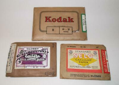 Vintage Kodak Velox Photographic Paper Illingworths Selo Gaslight Packets Photos