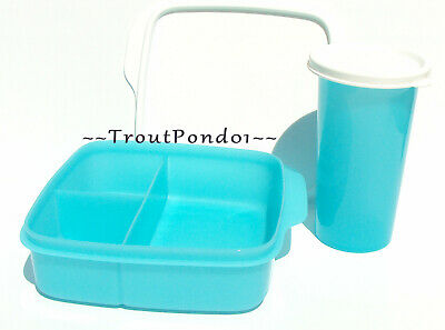 TUPPERWARE Big Bell Tumbler and Lunch It Divided Box Blue Lunch Set New