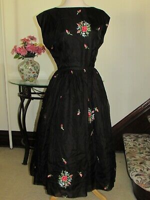 VTG 1950s-60s BLACK DRESS Fit&Flare w Embroidery AS IS Repair/Repurpose/Costume