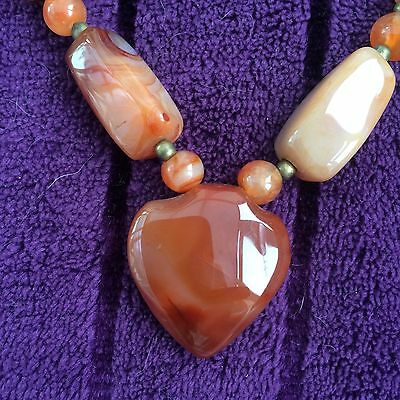 Vintage Polished Carnelian Agate Beaded Necklace With Heart Design Pendant