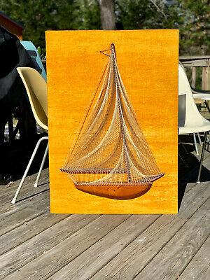 VTG 1970s MID Century Modern String Art Sailboat Boat Gold Velvet Wall Hanging