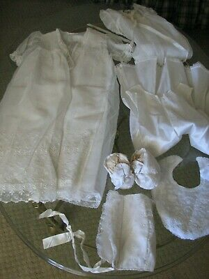 Vintage Madonna Haddad white Christening Baptism gown outfit Bonnet Booties Bib
