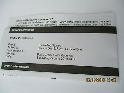 Rolling stones concert, Burl's Creek June 29, 2019, 4 tickets