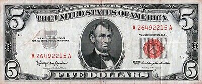 $ 5 United States Note -Serial # A 26492215 A - Red Treasury Seal Series 1963
