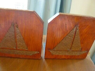 Vtg PAIR ROYCROFT ARTS & CRAFTS COPPER and WOOD SAIL BOAT Bookends 5 x 5