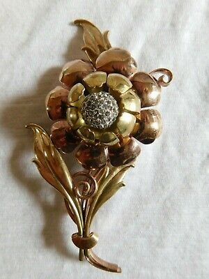 Antique Art Deco Large Gold Filled, Copper Flower Brooch Statement Rhinestones