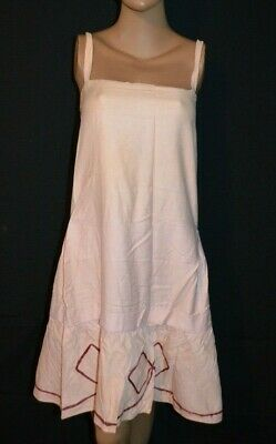 Antique Vintage 1920s Pink Cotton Flapper Art Deco Farm Ric Rac Dress - S/M