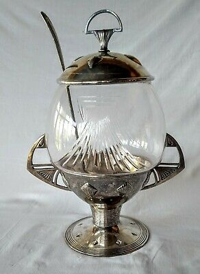 Wmf Punch Bowl With Ladle And Original Glass Art Nouveau Jugendstil Silverplate