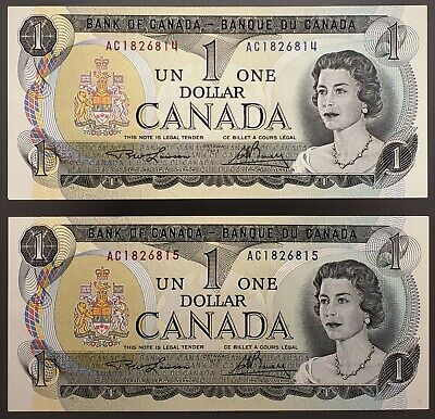 Lot of 2x 1973 Bank of Canada $1 One Dollar Bills, Crisp UNC Consecutive Serials