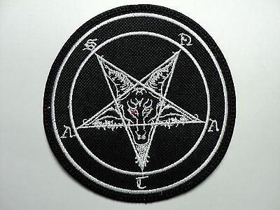 Baphomet Satan White  Embroidered Patch