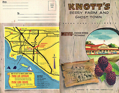 Knotts Berry Farm & Ghost Town 1960s Booklet Color Photos Menu Theme Park Calif