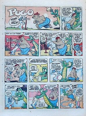 Pogo by Walt Kelly - large full tab page color Sunday comic - April 14, 1957