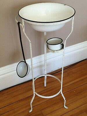 Victorian Metal Wash Stand ~A 3-Piece Enamelware Set