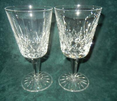 """(2) 6 7/8"""" Waterford Crystal Lismore Water Goblets Excellent"""