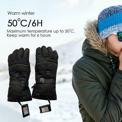 1 Pair Electric Heated Gloves Winter Warmer Ski Rechargeable Battery Waterproof