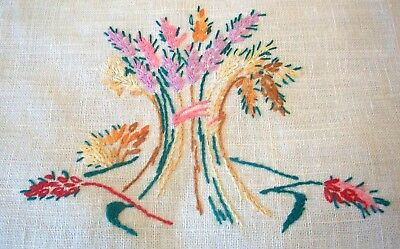 Centrepiece or Table Centre Doily Hand Embroidered Colourful Sheaves of Wheat