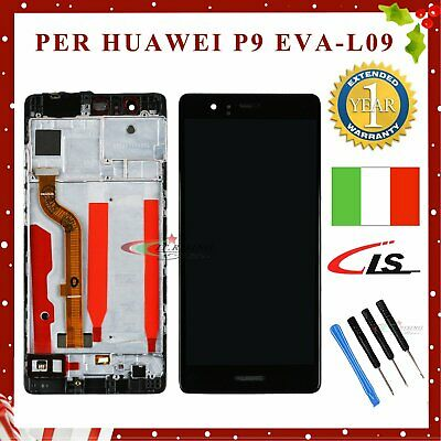 Lcd Display+Touch Screen+Frame Per Huawei P9 Completo Eva-L09 Assemblato Nero