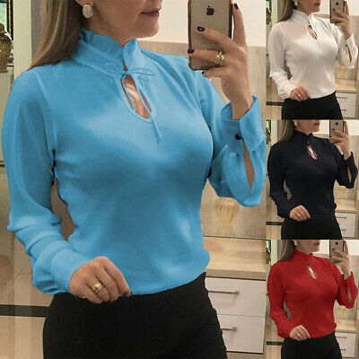 Women Long Sleeve Lace-Up Fashion Solid OL T Shirt Casual Tops Blouse Plus Size