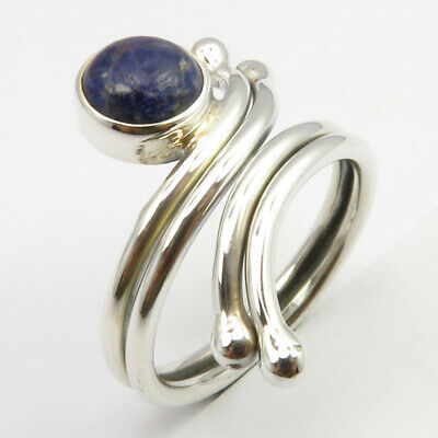 Sterling Silver Cab Sodalite ADJUSTABLE Ring Size 6.25 Stone Jewelry