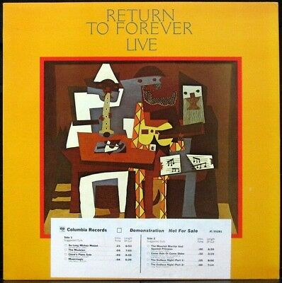 RETURN TO FOREVER 'Live' 1978 NM Never played 1st press white label Promo LP