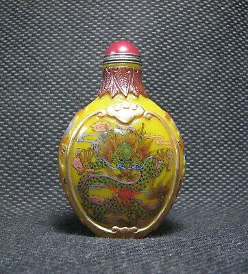 Tradition Chinese Glass Hand Painted Dragon Design Snuff Bottle