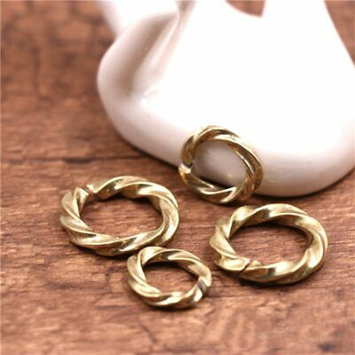 5pcs Solid Brass Knit Round Loop Key Chain Rings Key Holder DIY Leather Craft