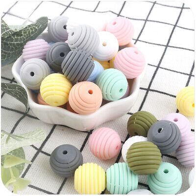 10PC Silicone Beads Teether Baby Teething Toy Bead Necklace Jewelry Chewable DIY