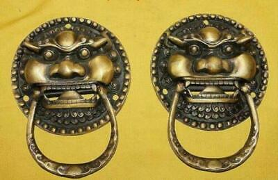 Chinese Copper Bronze Foo Dog Foo Lion Door Knocker Pair