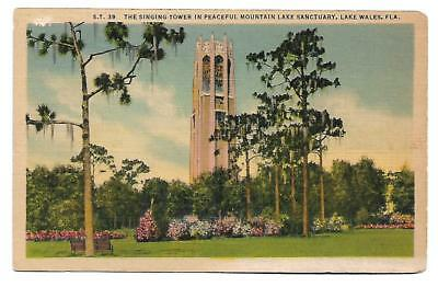 0019 Linen Postcard  The Singing Tower , Lake Wales, Fla