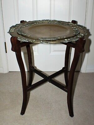 Victorian Folding Chinese Brass Tray Table - Side/Lamp Table/Aesthetic Era