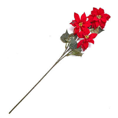 Red Artificial Poinsettia Stem | 3 Pieces