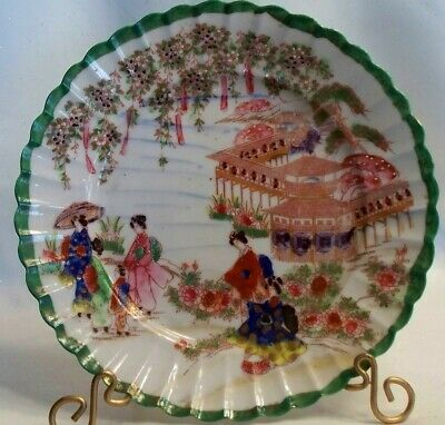 Antique Detailed Asian Hand Painted Ladies 8 1/2 Inch Decorative Plate Z188