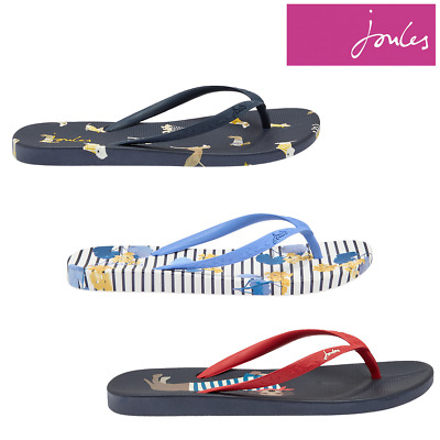 Joules 204694 Flat Bed Flip Flops in GREY AND WHITE ROSE STRIPE