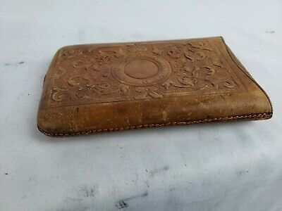 Antique English Leather Glass / cards case, detailed