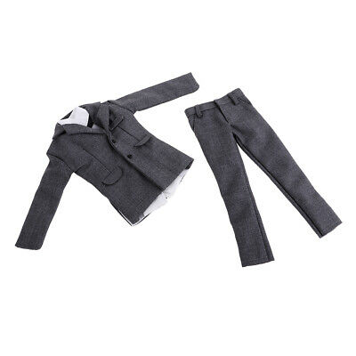 1/6 Men's Outfits Gray Gentleman Suit for 12'' Male Figures Accessories