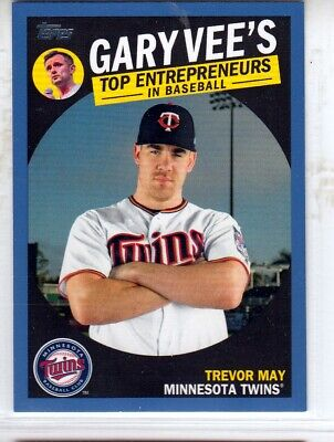 TREVOR MAY 2019 Topps Series 2  Gary Vee's Top Entrepreneurs Blue Parallel Twins