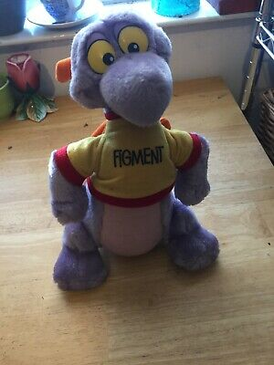 "Vintage Walt Disney World FIGMENT Plush Epcot Purple Dragon 10"" Stuffed Animal"