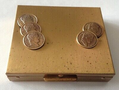 Vintage Compact Type Coin Holder -  Petty Cash Tin Goldtone