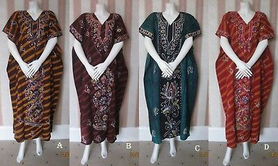 ^ New /  Multicolour Batik 100% Cotton Kaftan Maxi Dress Nighty Tunic Beach
