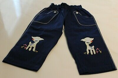 """Vintage Pair Of Childs Navy Blue Pants With Embroidered Animal Patches 17 1/2"""""""