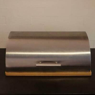 Stainless Steel Bread Box with Bamboo Wood Cutting Board Bottom
