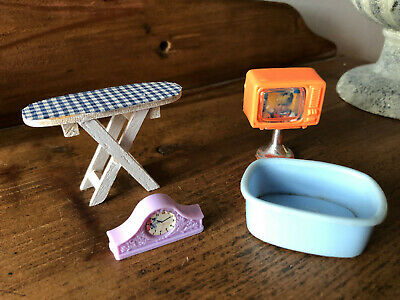 Vintage dolls house accessories, TV, Ironing board, clock, wash-up bowl